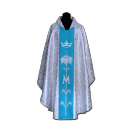 Chasuble, St. Mary's -  blue + silver ornament (8)