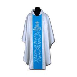 Chasuble, St. Mary's - silver + blue belt (10)