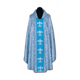 Chasuble, St. Mary's -  blue + silver ornament (13)