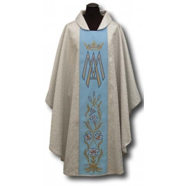 Marian chasuble embroidered belt - silver + silver ornament (21)