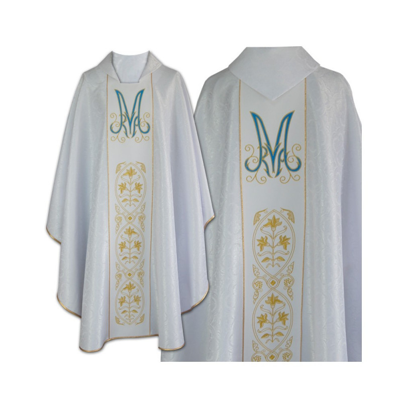 Marian chasuble embroidered - jacquard fabric (36)