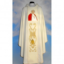 Chasuble with the image of John Paul II - smooth material