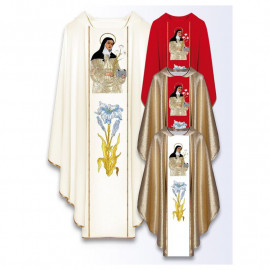 Chasuble with embroidered image - Saint Clare