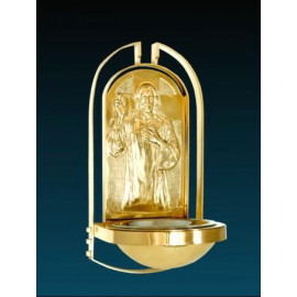 Gilded church holy water font - 37 cm