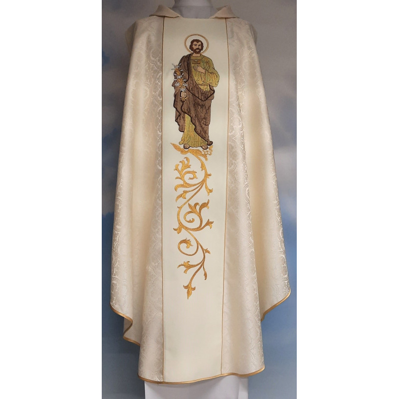 Embroidered chasuble with an image of St. Joseph - rosette (6)