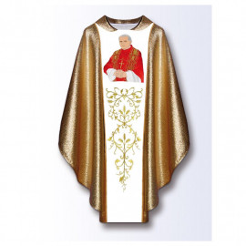Chasuble with the image of John Paul II - golden material (B)