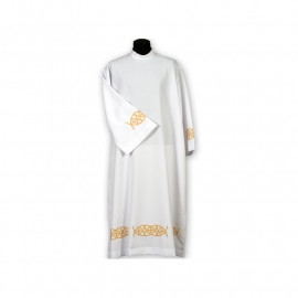 Clergy alb embroidered, stand-up collar (17)