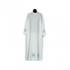 Clergy alb Marian embroidery, stand-up collar (24)