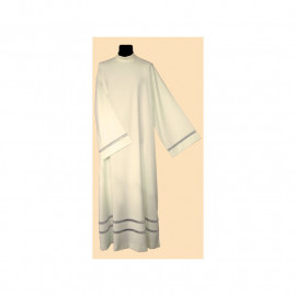 Clergy linen alb with decorative gray ribbon (40)