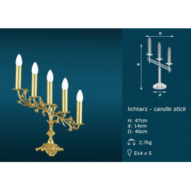 Brass candle holder - 5 bulbs (47 cm)