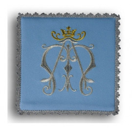 Blue embroidered pall - symbol of Mary
