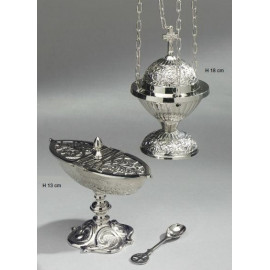 Censer + boat + spoon - a set of silver color