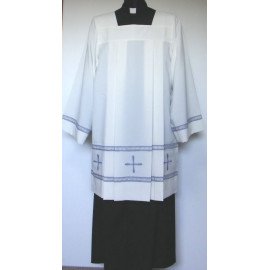 Surplice priest stretch - gray crosses + hemstitch