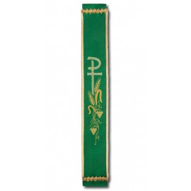 Green embroidered bell sash