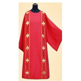 Dalmatic red + stole (two strips)
