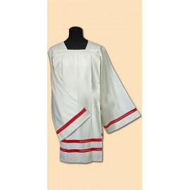 Surplice priest linen - red inset