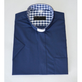 Clerical dark blue shirt with a large grille