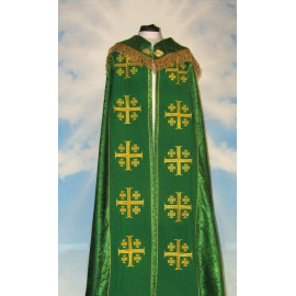 Embroidered cope - Jerusalem Cross green - rosette (3)