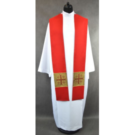 Red stole with Jerusalem crosses