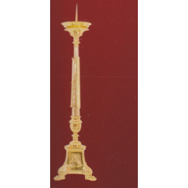 Richly decorated brass candlestick - 80 cm