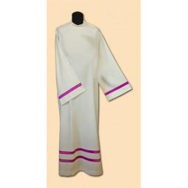 Linen priest's alb - purple inset