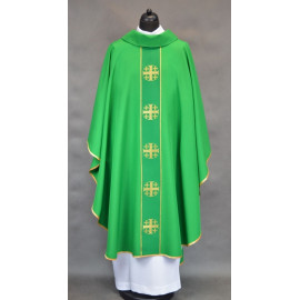 Chasuble with Jerusalem crosses - green