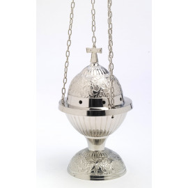 Nickel-plated brass thurible - 24 cm
