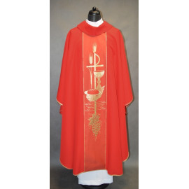 Chasuble with Eucharistic symbols - red
