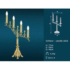 Brass candlestick - 4 lights (77 cm)