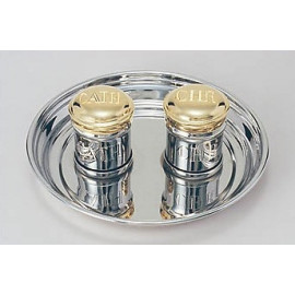 Gold plated dishes with a nickel plated tray