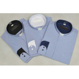 Clergy shirt - blue grille