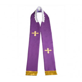 Embroidered priest's stole - purple (3)