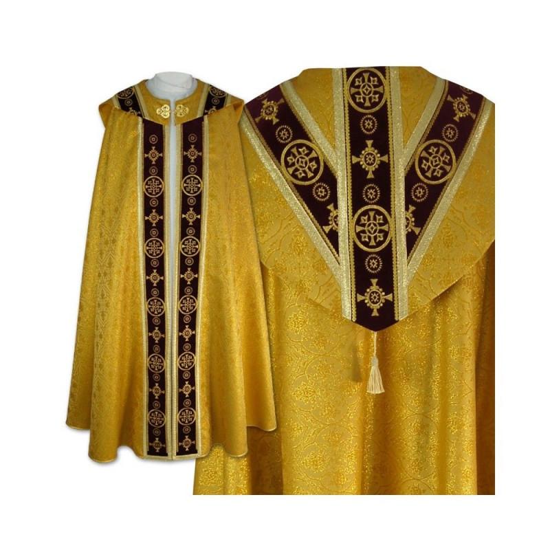 Semi-Gothic gold cope - velvet stripes (5)