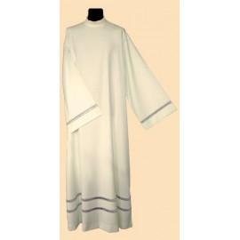 Linen priest's alb - silver inset