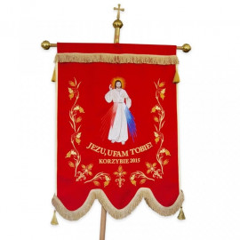Double-sided embroidered banner - Jesus, I trust in You