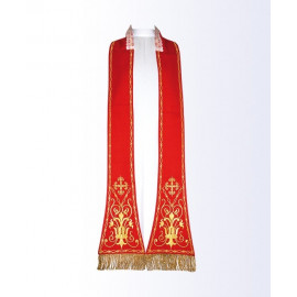 Red stole with a Eucharistic motif
