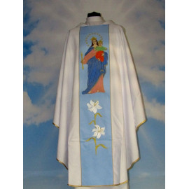 White embroidered chasuble - MB Helper of the Faithful