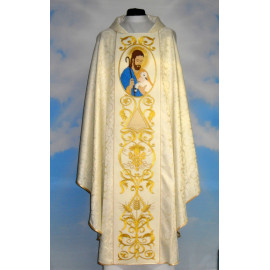Chasuble Good Shepherd - cream color rosette (2)