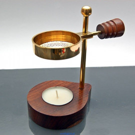 Elegant brass and wooden incense burner