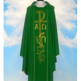 Chasuble of Alpha and Omega with computer-embroidered belt (630)