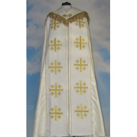 Embroidered cope - Jerusalem Cross White - rosette (3)