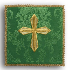 Green embroidered pall - gold cross