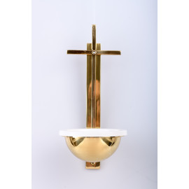 Brass holy water font with a cross - 31 cm