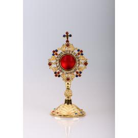 Reliquary gilded 20 cm - ornamental stones (15)