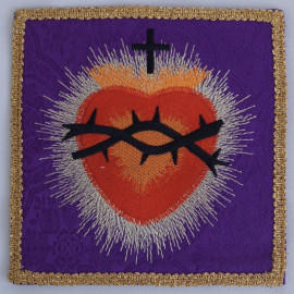 Purple embroidered pall - Heart in a crown of thorns