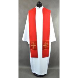 Red stole with Jerusalem crosses - K