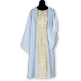White dalmatic golden belt + stole