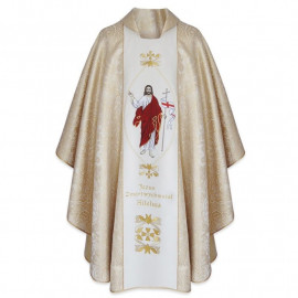 "Embroidered chasuble with belt ""Risen Jesus"""