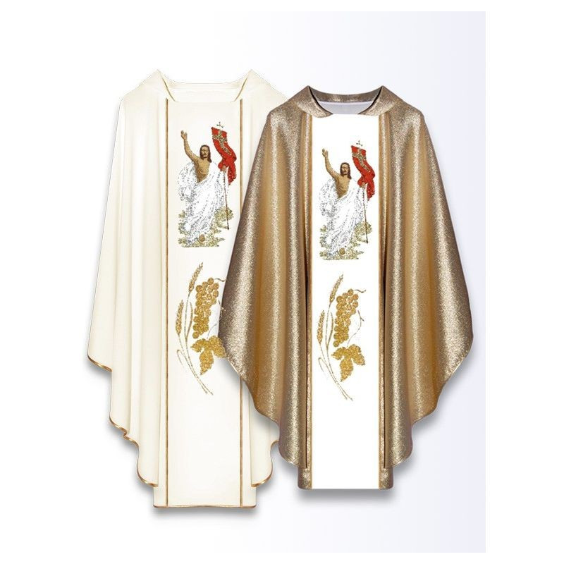 """Embroidered chasuble with belt """"Risen Jesus"""" (2)"""