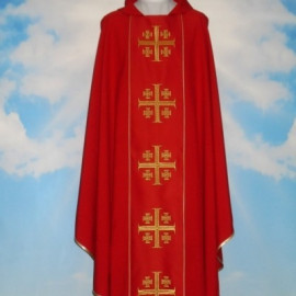 Chasuble of Jerusalem Crosses with computerized embroidered belt (653)